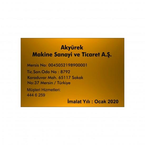 10x15 cm Gold Metal Etiket