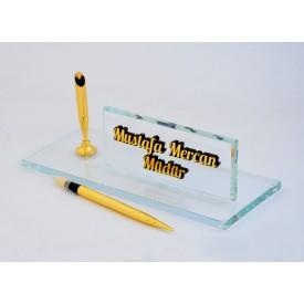 Tek Kalemli Kabartma Yazılı Kristal İsimlik